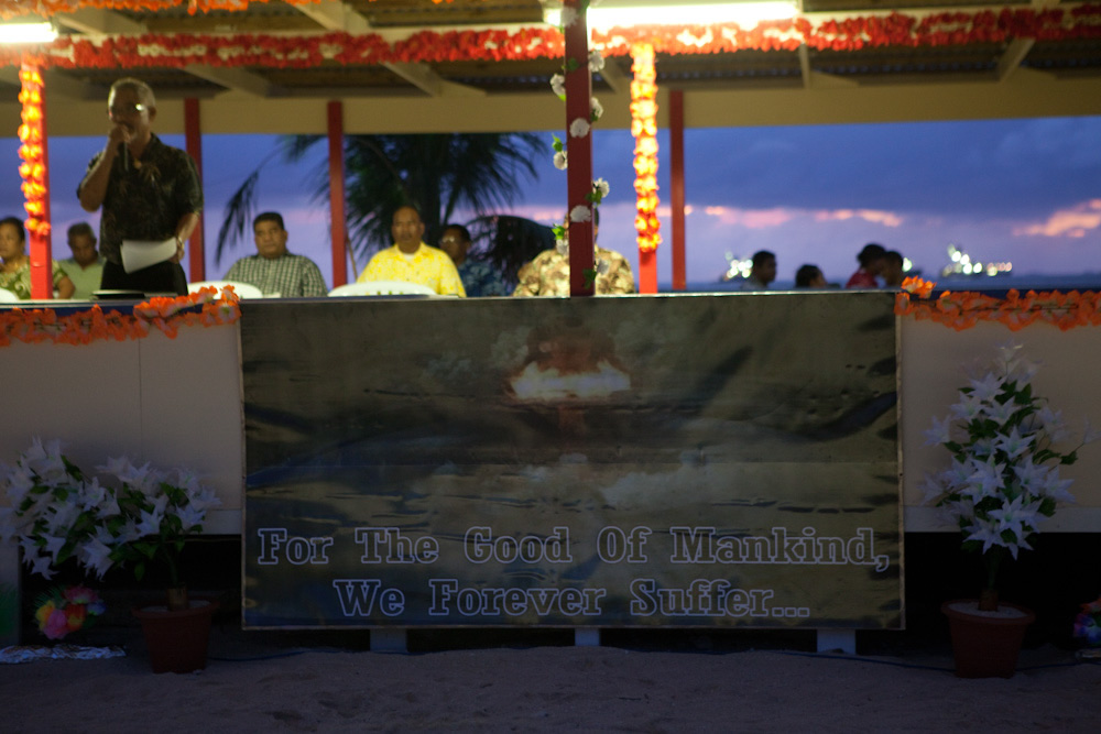 For the good of mankind we are still suffering. A poster as part of the Enewetak commemorations on Majuro / Photo: Jessie Boylan
