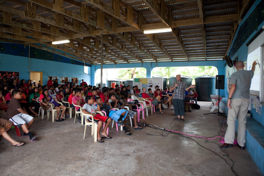 Mick and Bo giving a presentation to school kids on the history of nuclear testing world-wide. Photo: Jessie Boylan