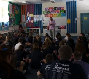 John Romeril at Balaklava High School visit