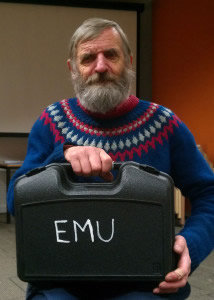 John Romeril with audio equipment case