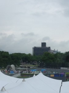 Preparations underway for the Hiroshima Day ceremony in the Peace Park