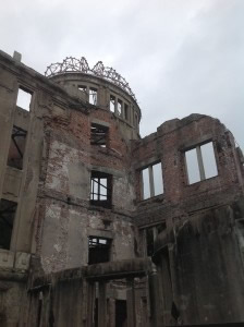 Iconic Hiroshima Peace Memorial (Genbaku Dome), one of the few remaining structures after the first atomic bomb exploded on 6 August 1945 in Hiroshima.