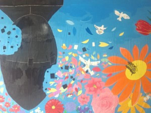 By Art Club at Sakurababa Junior High School- shows the Fat Man bomb in the centre of the painting being shattered into pieces, and was painted out of their desire to eradicate nuclear weapons