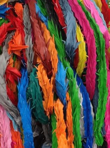Thousands of colourful paper cranes