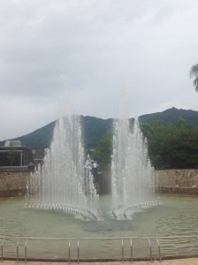 Fountain of Peace, Nagasaki Peace Park- the water spray is shaped like a pair of angel wings