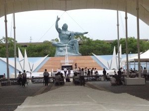 Ceremony preparations at the Peace Park (Aug 8th)