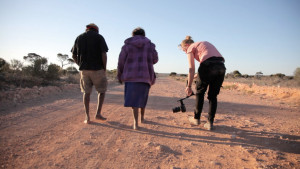 Filming for Ngurini (Searching) at Maralinga. Photo by Jessie Boylan.