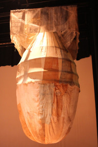 Silk sculpture 'Fat Man' by Yukiyo Kawano