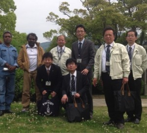 Site meeting with Steve Harrison and Russell Bryant (Yalata), and Nagasaki Peace Park officers, April 2015.