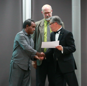 South Australian Governor (right) awarding grant to Steve Harrison (left) and Paul Brown (middle). Photo by Naomi Ebert-Smith.