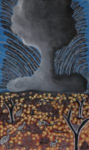 Bomb painting by Alinta Smart from Yalata Anangu community, in the collection 'Life Lifted into the Sky' – part of our showcase
