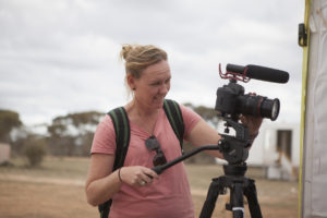 Danni Marwick filming and running workshops at Yalata. Photo by Jessie Boylan