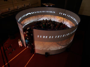 View from above the projection installation. Photo by Tony Kearney.